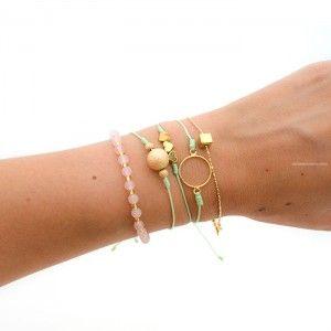 Pulsera 3 Corazones Hilo Verde Menta | www.dulceencanto.com accesorios para mujer #pulseras #accesorios #moda