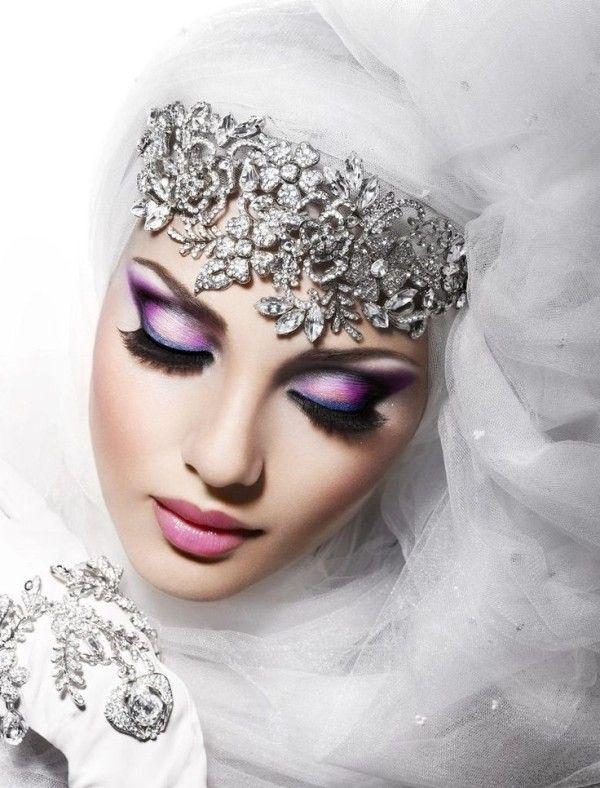 Imágenes de maquillaje árabe para Carnaval 2016 sombra lila azul
