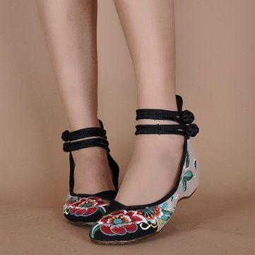 Stampa floreale Button Color Match cinese National Wind Stile Vintage scarpe piane