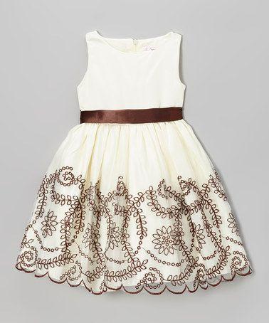 Ivory Rosette Ruffle Cascade Dress #zulily #ad *so pretty