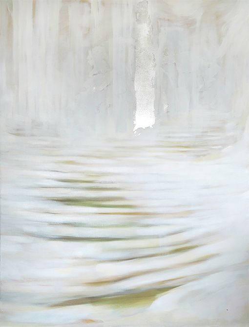 World of snow, oil and metal leaf on canvas, 145x105cm