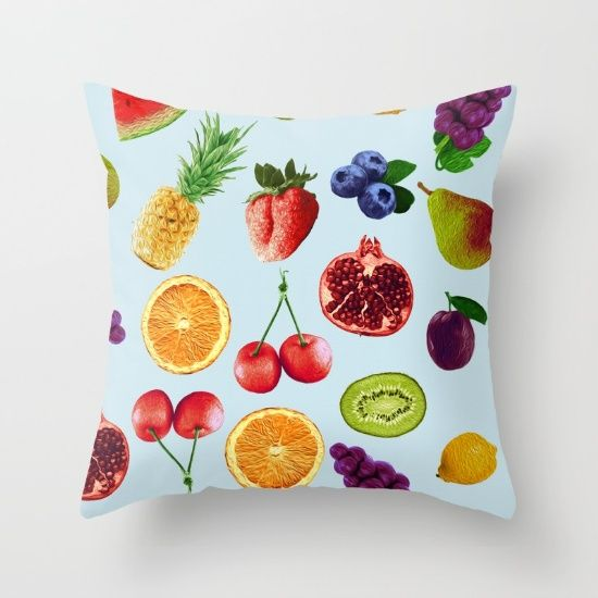 """Fruit Salad! Throw Pillow Cover made from 100% spun polyester poplin fabric, a stylish statement that will liven up any room. Individually cut and sewn by hand, the pillow cover measures 16"""" x 16"""", features a double-sided print and is finished with a concealed zipper for ease of care."""