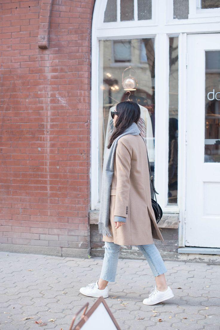 Uniqlo coat, Levi's 501 skinny jeans, Adidas sneakers