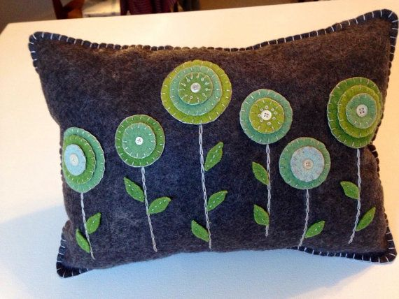 Wool Felt Penny Rug Flower Pillow Hand Dyed Wool Felt by FolkHome