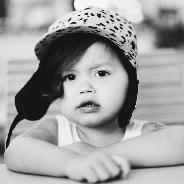 Grey is looking awesome with our Mini Rodini black spots hat