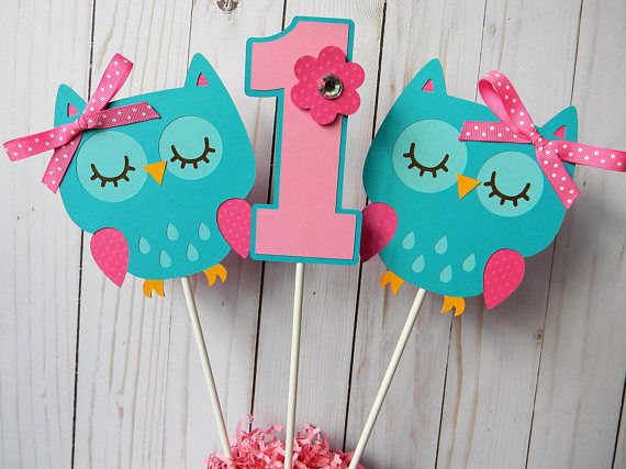 Welcome to Sweetheart Party Shop! This listing is for 3 Owl centerpiece sticks (2 owls and 1 age) in pink and teal as shown. Listing does NOT include bucket. Owls and #s are 5 inches and attached to an 11 inch stick. ****Include in the notes section at checkout: 1. Party Date