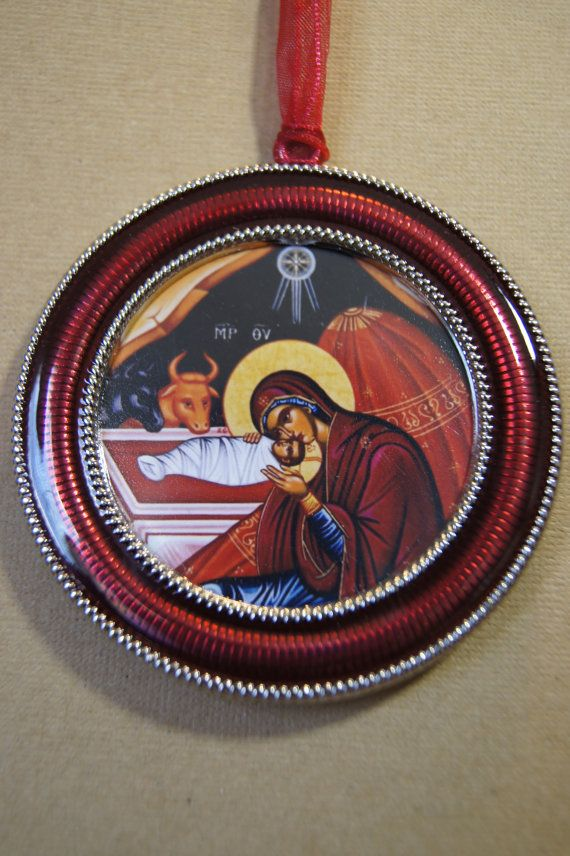 red enamel Orthodox Christmas Ornament - PenAndPaperGreetings - Etsy.com
