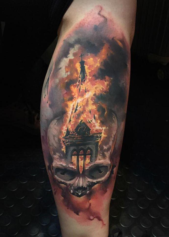 Skull & Burning Church http://tattooideas247.com/burning-church/