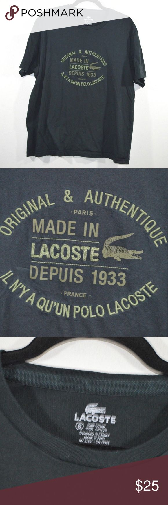 Lacoste Big Logo Spell Out Short Sleeve T-Shirt Lacoste T-Shirt  Excellent shirt for a day out  Comes from a smoke-free household  The size is 8 or 2XL and the measurements are 23 inches underarm to underarm and 28 inches shoulder to base  Black  Cotton  Check out my other items for sale!  XL2 Lacoste Shirts Tees - Short Sleeve