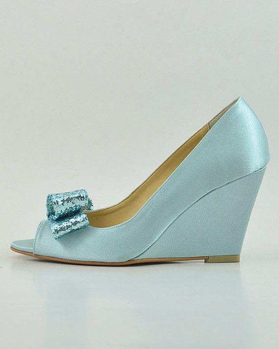 Something Blue Wedding Shoes, Blue Glitter Wedding Wedges, Light Blue Wedding Shoes, Robin Egg Blue Wedding Shoes, Something Blue Wedge Pump