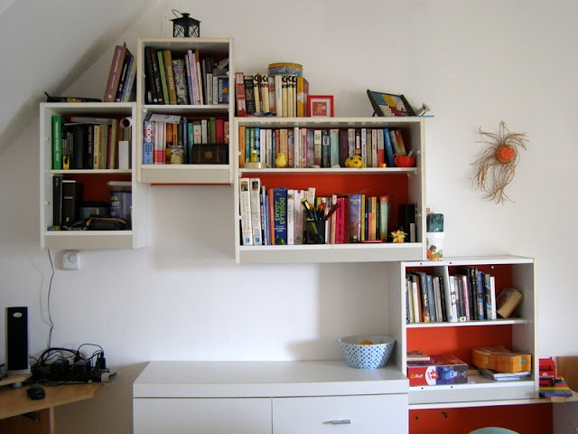 old kitchen turned into bookshelf