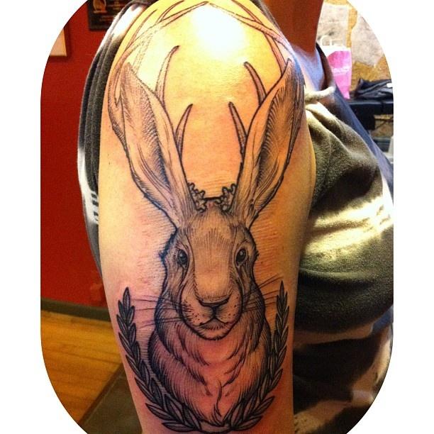 My Jackalope tattoo, artwork & tattoo by Brandon Holt @ Uptown Tattoo | http://uptowntattoo.com/