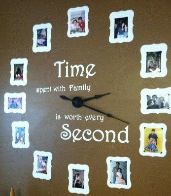 A great way to display family pictures.  Includes vinyl lettering and a wall clock kit.