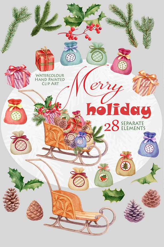 Christmas Watercolor clipart Merry holiday invitations  This set of high quality #Watercolor #Christmas #cliparts: 28 separate elements. Use them for #decoration of #invitations, #greetingcards,  photos, albums and many other DIY projects. All images are 300dpi, coloured and ready to use. This listing includes: 28 PNG files - (300 dpi, RGB, transparent background)  wide size aprox.: 3 - 12 inch  1 JPG file: 12-12 inch