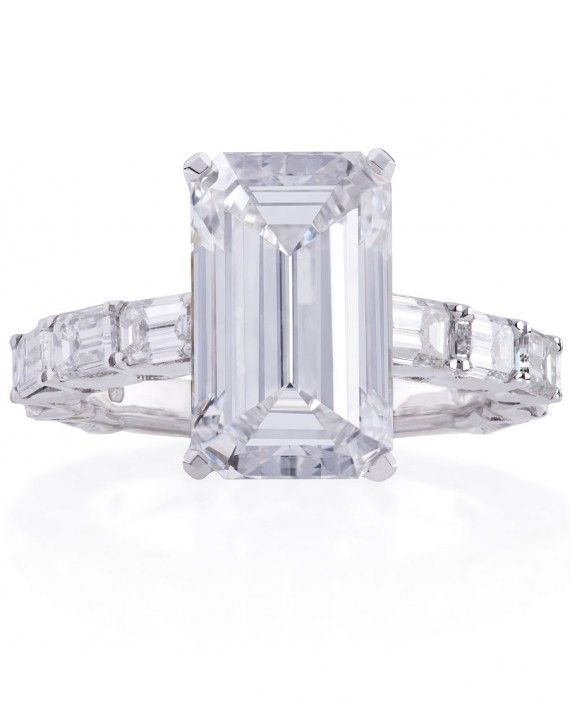 Get the look: Emerald cut diamond ringwith a band of two carats of emerald-cut collection VS diamonds and 0.24 carats of round brilliant cut collection VS diamonds set in 18 karat white gold, price upon request, LuganoDiamonds.com.