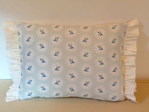 NEW-Peony-Sage-Butterfly-Flying-High-Birds-Frilled-Linen-Fabric-Cushion-Cover
