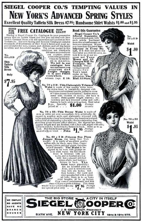 Siegel-Cooper Company advertisement, 1908