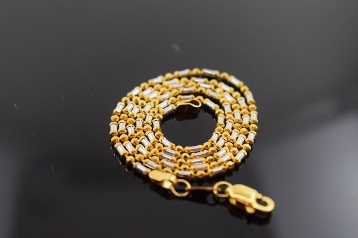 22k Yellow Solid Gold Chain Rope Necklace 1.7 mm c41 with white diamond cut box