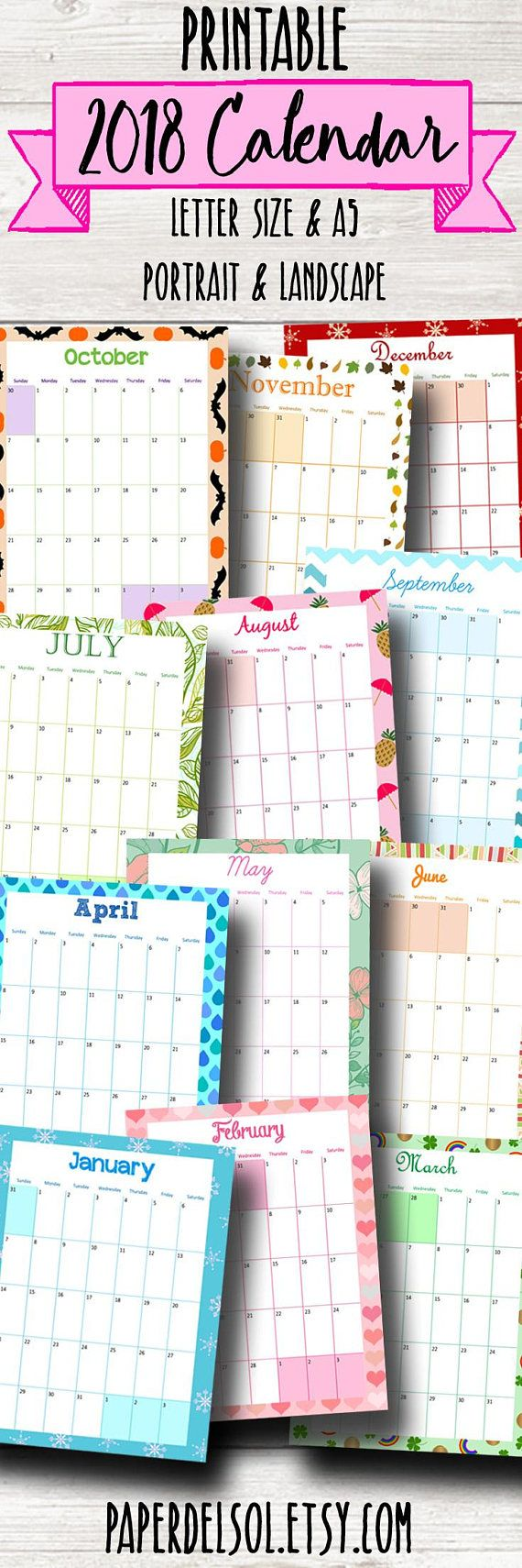 Printable 2018 calendars. These would be perfect for planning my upcoming year. #ad #planning #printable