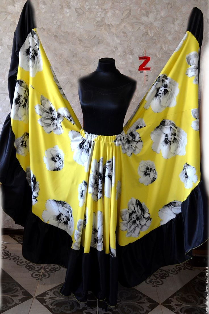 Купить Цыганская юбка Желтые цветы - желтый, костюм цыганский, цыганские костюмы, костюмы цыганские