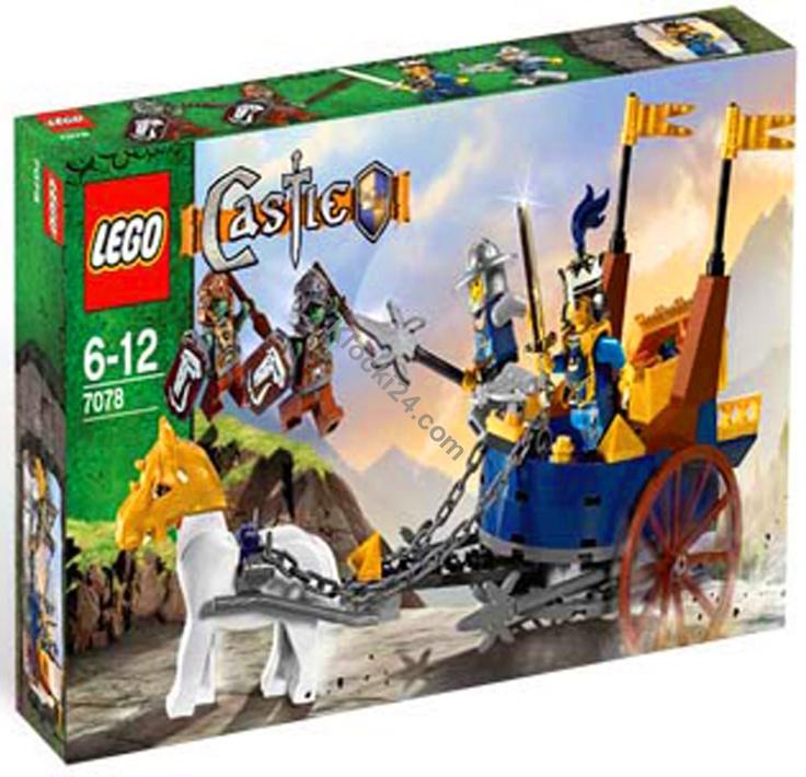Lego Castle King's Battle Chariot. Dobry Król zmierza swym rydwanem na pole bitwy, by pomóc w walce swym rycerzom. Kiedy nadjedzie król wraz ze swoją strażą - nikczemnicy nie mają szans. W zestawie, oprócz rydwanu, znajdują się też: dwie figurki trolli, rycerz oraz Dobry Król. Wszystkie figurki, łącznie z koniem, posiadają średniowieczne zbroje.    Kod EAN/ISBN 5702014532854        Polecamy produkty