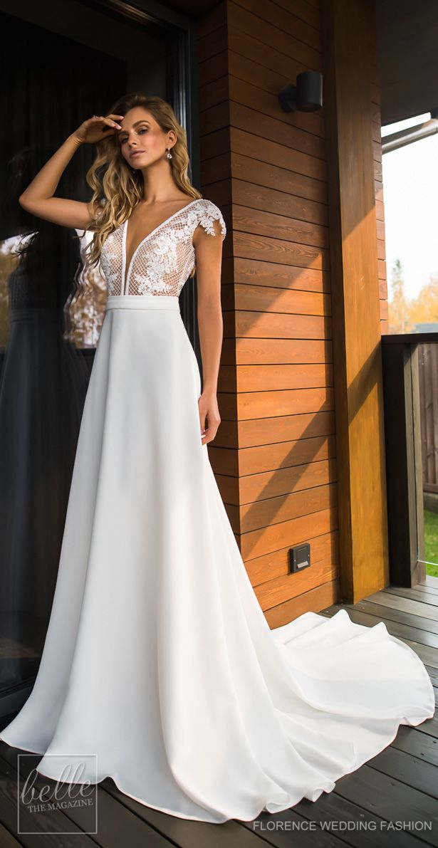 Wedding Dress by Florence Wedding Fashion 2019 Despacito Bridal Collection    Lace bridal gown with cap sleeve and plunging v neckline with chapel  train ... 2685cf56d35f