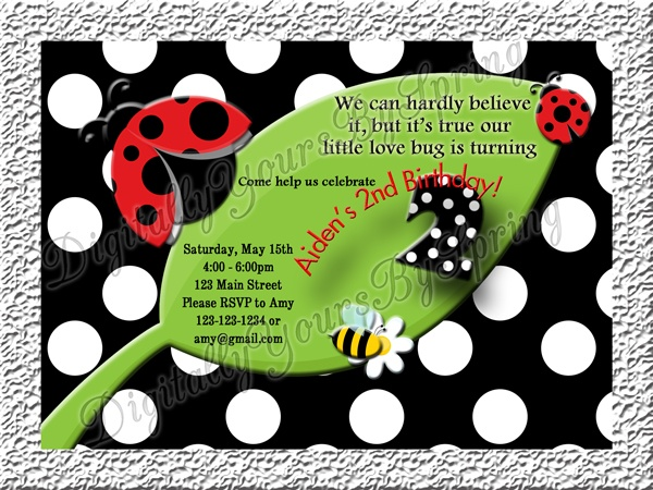 Customize this kids Lady bug Birthday invitation for your party needs! If you would like to customize using different fonts or colors or add your personal pictures I can customize to your needs. Please visit my online store for more information. www.etsy.com/... or like me on Facebook! www.facebook.com/...