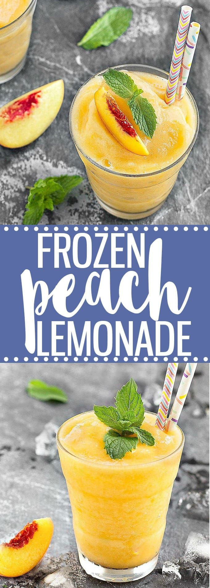 Frozen peach lemonade - the perfect refreshing beverage to cool you down this summer! This easy recipe requires just 4 ingredients, a blender and 5 minutes! Add some vodka for a delicious adult version!  via @easyasapplepie