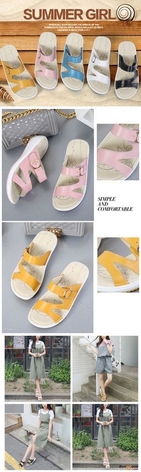 US$27.48+Free shipping. Size(US): 5~9. Summer Sandals, Women Flat Sandals, shoes flats, shoes sandals, Casual, Outdoor, Comfortable. Color: Black, White, Pink, Blue, Yellow. Heel Height: 4cm. Platform Height: 2cm. Upper Material: Cow Split Leather. Outsole Material: Rubber.
