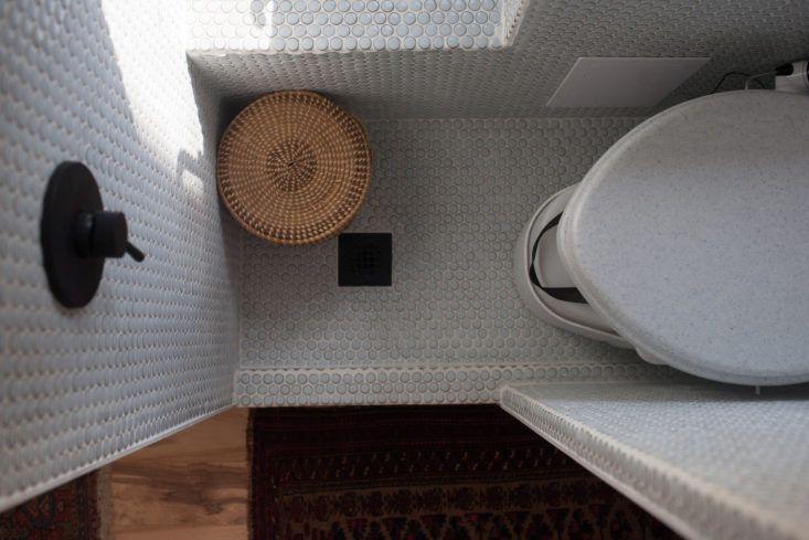 modern caravan airstream remodel bathroom detail