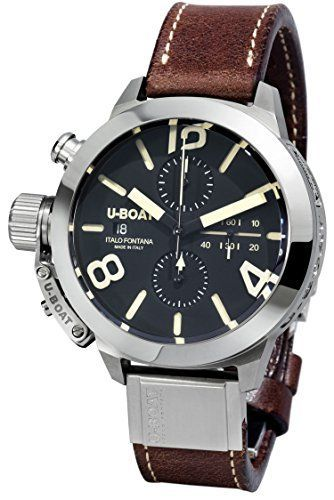 U-Boat Men's Automatic Watch with Black Dial Chronograph Display and Brown Leather Strap 7430/A - big face mens watches, mens watches best brands, mens discounted watches