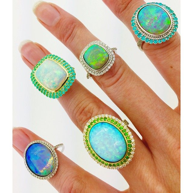 Opal Overload #opals #paraiba #diamonds #tsavorite #18kGold #sloanestreetjewelry