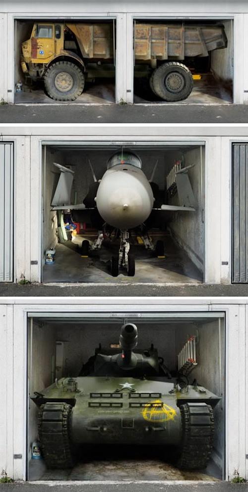 Humorous Garage Door Decor: garage doors 3D Home Decoration Stickers - haha!