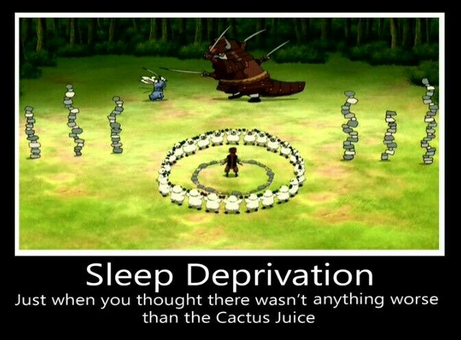 Sleep Deprivation: just when you thought there wasn't anything worse than the Cactus Juice, funny, text, Aang, Momo, Appa; Avatar: the Last Airbender