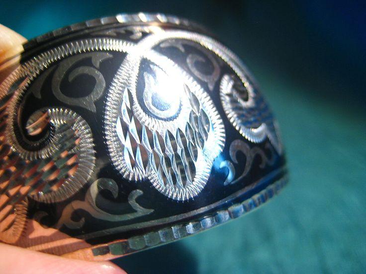 Russian Kubachi Niello Sterling Silver Handmade Cuff Bracelet.