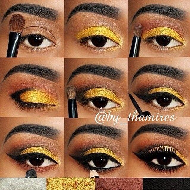 Yellow gold makeup #tutorial #maquiagem #evatornadoblog Желто-золотистый макияж - урок