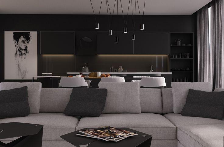peinture noir mat, suspension graphiques, canapé gris et coussins décoratifs