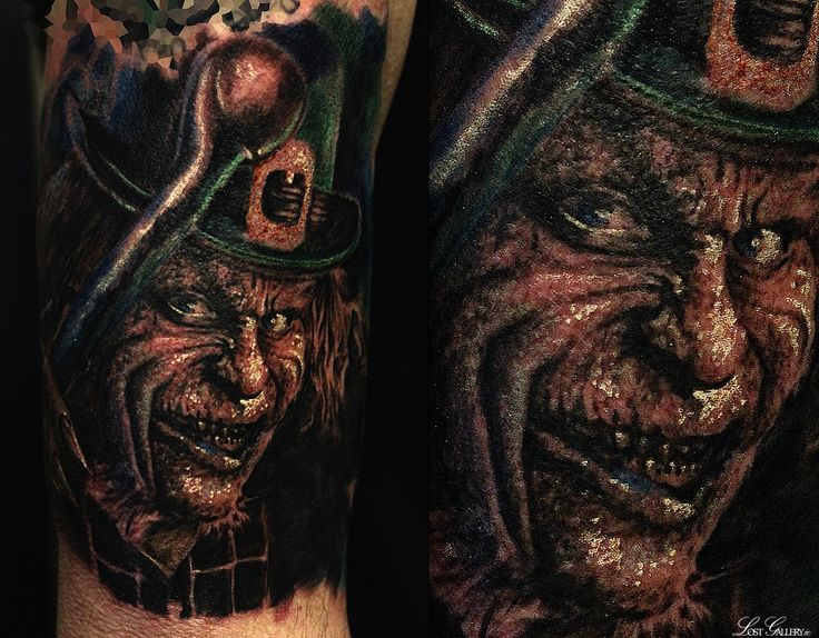 The Evil Leprechaun, Im hoping its the photo that's that dark and not the tattoo but I'm not sure. Dude looks evil and theres definitely a photoshop filter on the image. - #talesofthetatt #tattoo  #Irish #StPatricksDay- www.talesofthetatt.com