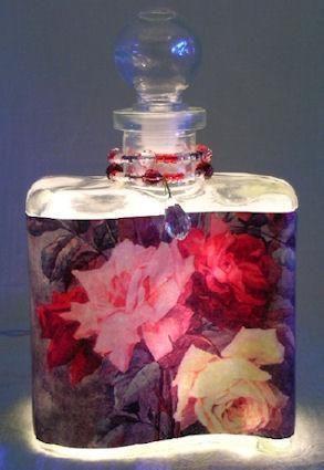 Rose Trio Perfume Bottle Nightlight ( Night Light ) - Roses And Teacups