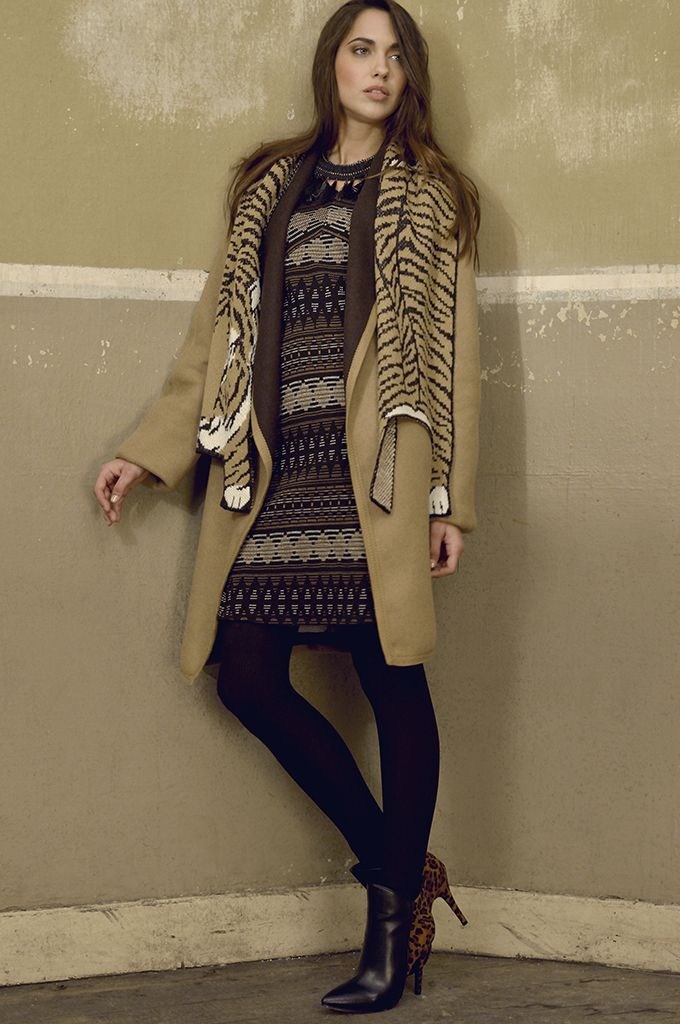 Sarah Lawrence - double face coat with oversised collar, jacquard dress with 3/4 sleeve, knitted scarf.