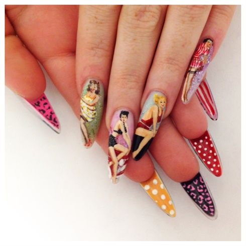 Pin-up girls nail art. Love the patterns on the undersides!