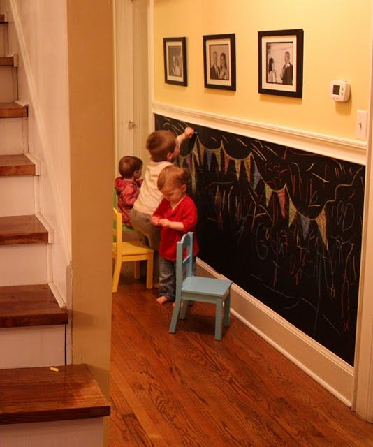 "Chalkboard wall.  Pinner Said: ""I have two of these and they have been in my home for ten years!  The kids LOVED LOVED LOVED it.  The one in the kitchen was for family notes.  The one in their play area is huge.  And chalk is easily removed from other things (like carpet and walls)."""