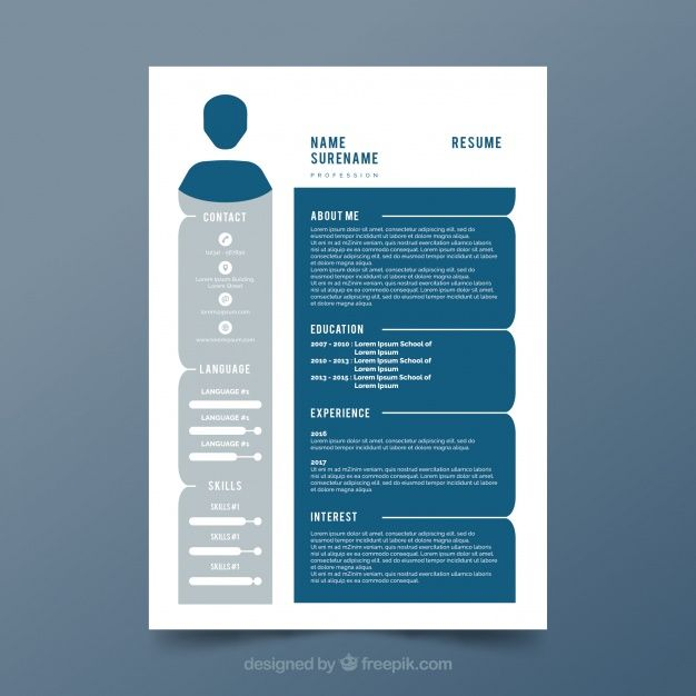 Free vector Gray and blue cv template #24006