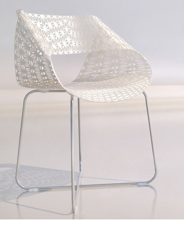"""The Swing Chair"", lace modern chair designed by Angelo Tomaiuolo - polished aluminium sheet in various colours, chrome metal base."