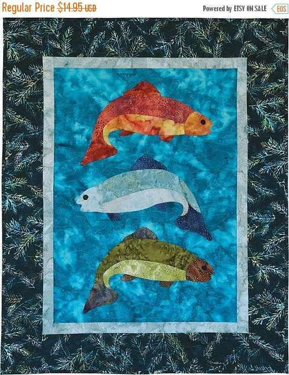 YEAR END SALE Fish Tales Pattern 26 1/2 x 33 by