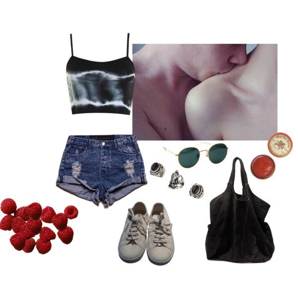Untitled #196 by papawine on Polyvore featuring One Teaspoon, Superga, Ganni, Topshop, Ray-Ban and Hai