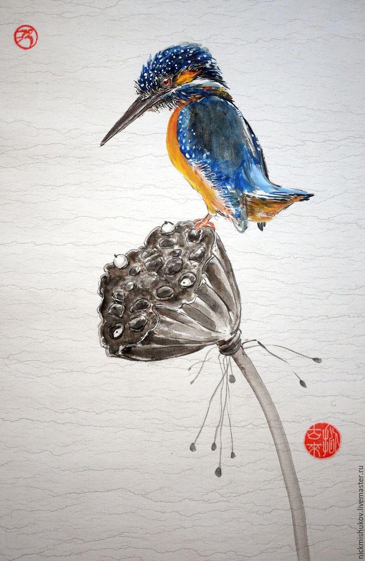 Купить Зимородок на засохшем лотосе - Зимородок, лотос, китайский стиль, китайская живопись, восточные мотивы