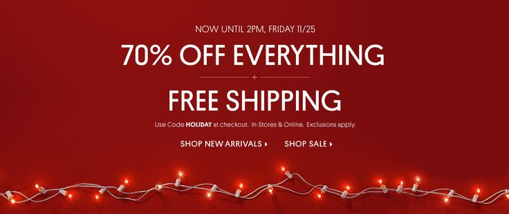 70% OFF EVERYTHING + FREE SHIPPING- EXCLUSIONS APPLY USE PROMO CODE HOLIDAY