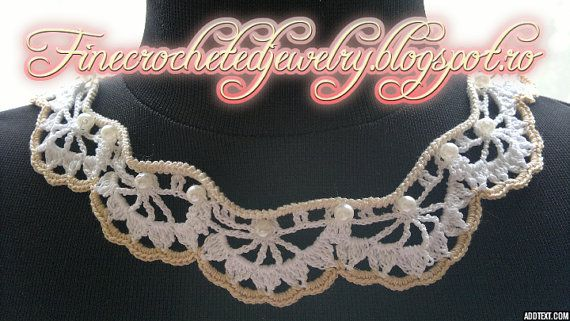 Crochet Lace Necklace white and cream by FineCrochetedJewelry, $30.00