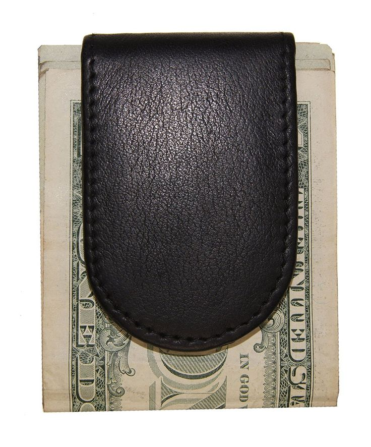 AG Wallets Men's Genuine Leather Simple Magnet Money Clip Wallet 2'' X 3'' (Black) >>> Want additional info? Click on the image.
